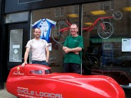 A crowd of several people formed outside the Laid Back Bikes showroom this afternoon as the newly-liveried Milan Velomobile was rolled out for a first taste of sunshine!