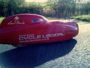 That's me, doing a little under 33mph on a flat bit of road in the crazy Milan velomobile...