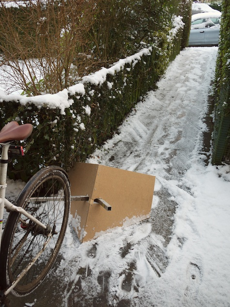Bicycle powered snow plough