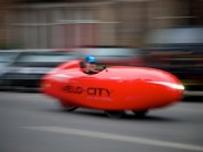 Spotted on Edinburgh's mean streets: the carbon Quest velomobile...