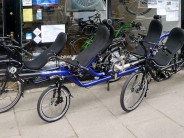 I popped round to Laid-Back-Bikes' Edinburgh showroom yesterday to see no less than three different recumbent tandems!